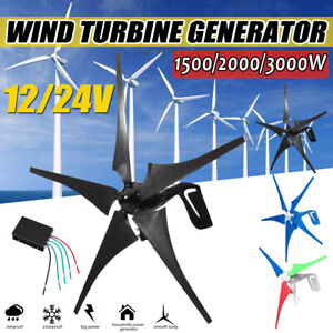 3000W Max Power 3//5Blades Wind Turbines Generator DC12//24//48V Charge Controller
