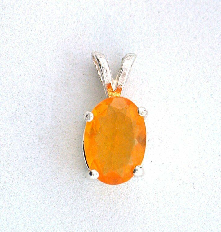 9x6 .86 Carat Oval Sterling Pendant Natural Mexican Fire Opal Gemstone EBS1539A
