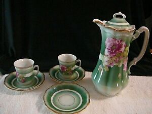 Antique-Crown-China-Germany-Hot-Chocolate-Pot-with-2-Cups-3-Saucers-Set-Floral