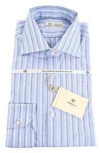 Luigi Borrelli 70/% Cotton//30/% Linen 15.75//40 Dress Shirt Blue Brown White Stripe
