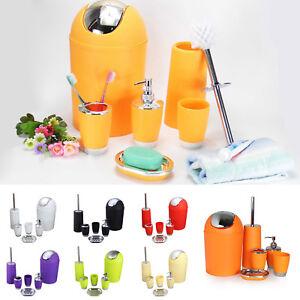 6-Pcs-Bathroom-Accessories-Set-Bin-Soap-Dispenser-Toothbrush-Tumbler-Holder-NEW