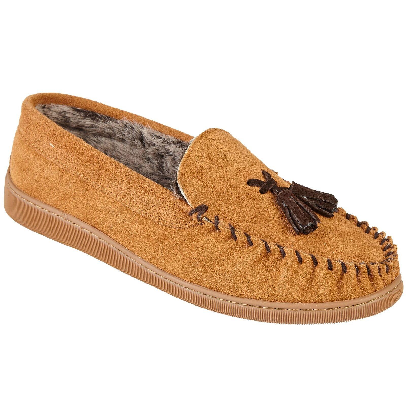 Men's Hard Sole Faux Fur Inner Suede Slip On Tassel Loafer Comfy Slippers