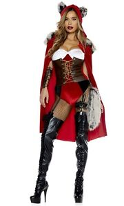 Image is loading Red-Haute-Riding-Wolf-Adult-Womens-Costume-Riding-  sc 1 st  eBay & Red Haute Riding Wolf Adult Womens Costume Riding Hood Forplay ...