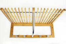 Portasciugamani Bagno Bambù Mensola Supporto Rack a muro di archiviazione Ganci Appendiabiti Nuovo