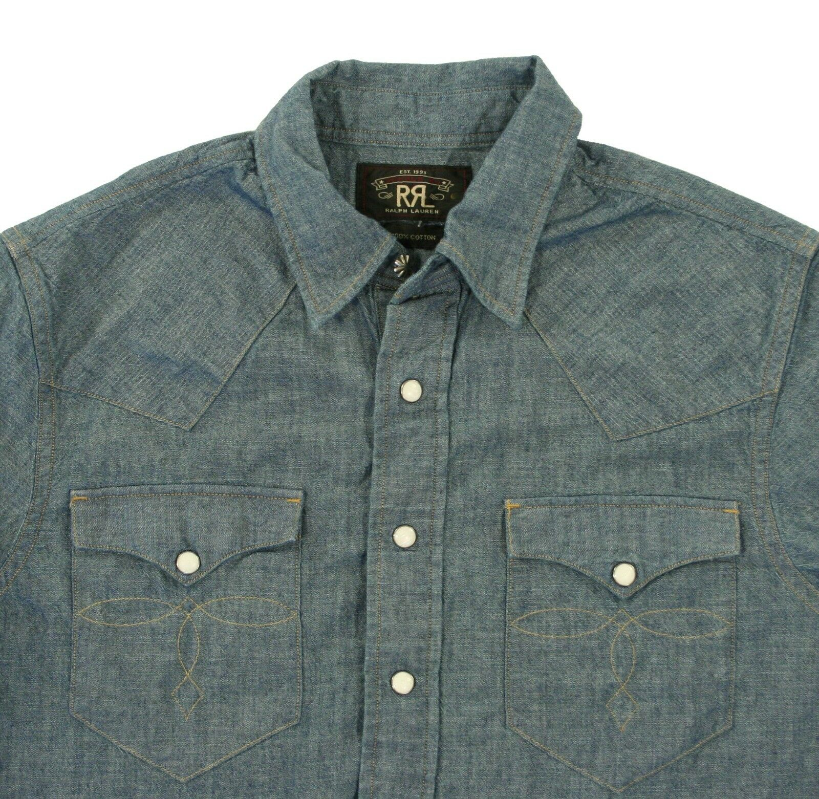 Donna Ralph Ralph Ralph Lauren Rrl Vintage Western Camicia di Jeans Nuovo fa98ee