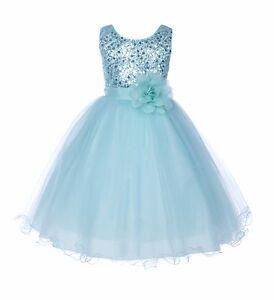 Wedding-Sequin-Mesh-Flower-Girl-Dresses-Graduation-Pageant-Birthday-Party-B011NF