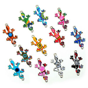 10Pcs-Mixed-Color-Gecko-Connectors-Charm-DIY-Necklace-Jewelry-Making-Craft