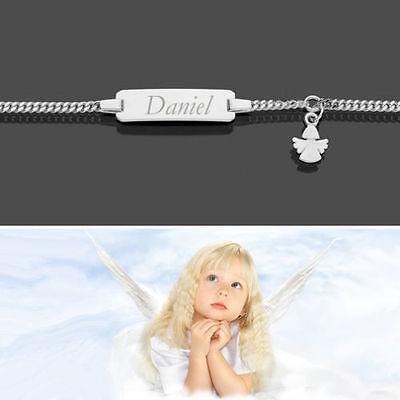 Ehrgeizig Schutzengel Baby Taufe Name Datum Gravur Armband Echt Gold Weißgold 333 14 16 Cm Heller Glanz