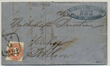 1863 5kr, Faltbrief, FACTURA, PRAG nach KOLLIN. Innen 5kr Stempelmarke! Schön!