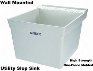 WALL-MOUNT-SLOP-SINK-Laundry-Utility-Tub-Wash-Room-Garage-Basement-Backyard
