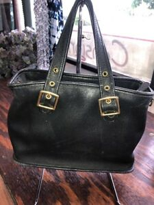d3f40bda87d Image is loading COACH-VINTAGE-BLACK-LEATHER-SMALL-TOTE-BAG-9063