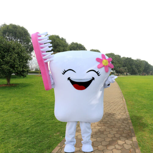 2019 Adult Tooth Mascot Costume Dental Care Unisex Cosplay Dress for Advertising