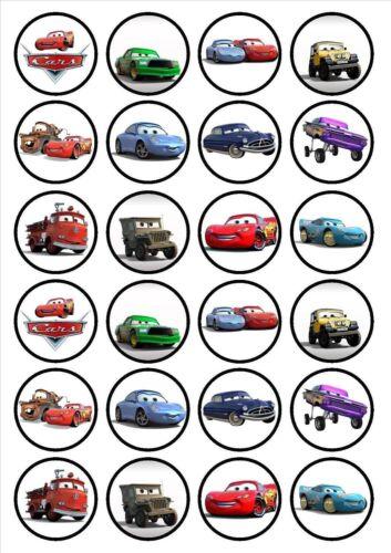 24 Muffin// Cupcake Cars Disque Azyme Comestible Anniversaire