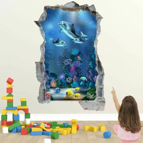 Dolphin Plants Fish Underwater Wall Art Stickers Mural Decal Kids Nursery EB30