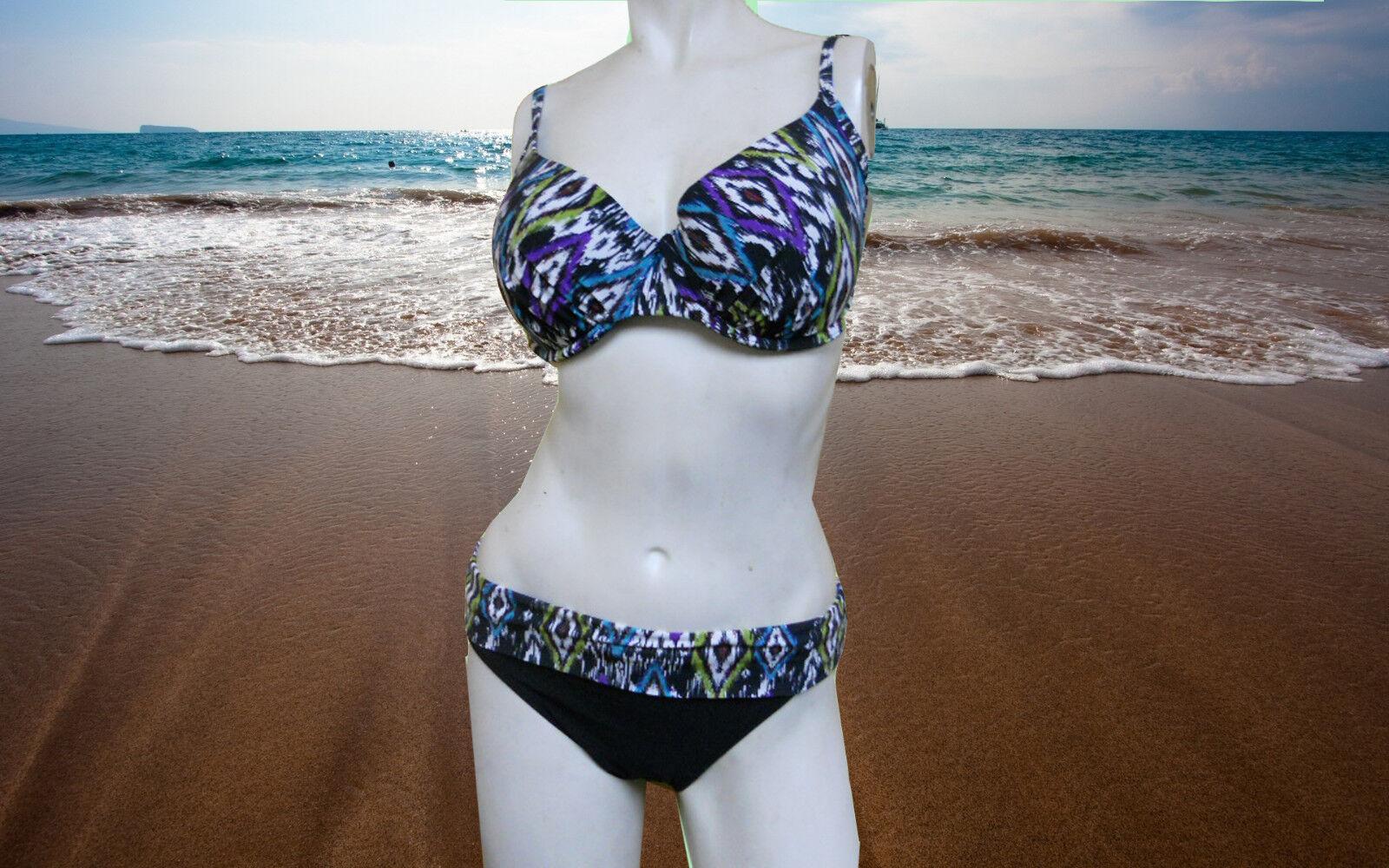 NWT GIDEON OBERSON 2 pc BIKINI 32D 32D 32D Tribal print BATHING SUIT Swimsuit SET - 6 b2843d