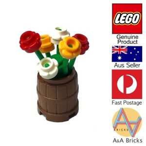 Genuine-LEGO-Flower-Pot-Barrel-with-Mixed-Flowers-All-new-parts-MOC