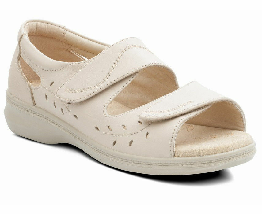 Padders Wave Ladies Beige Oyster Leather EE Touch Fasten Closed Back Sandal
