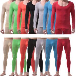63daea1639340b Ice Silk Men's Stretch Thermal Underwear Ultra Thin Long Johns Pants ...