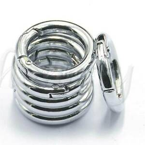 6pc//Set Mini Silver Circle Round Carabiner Spring Snap Clip Hook Keychain Hiking