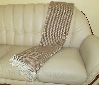 "Wolldecke ""Welle"" Plaid Wollplaid beige  Plaid Made in Germany  140x210"