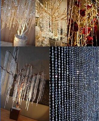 99ft Acrylic Crystal Beads Strings Wedding Party Iridescent White Garland 30M