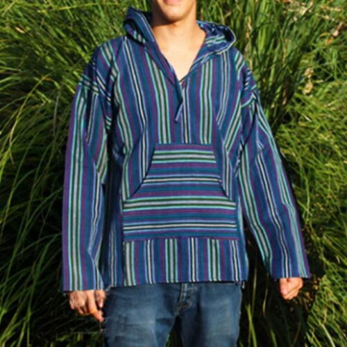 Poncho Jacket Assorted Colors Hoodie Shirt Reggae Baja Hippie 100/% Cotton BOHO