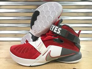 low cost 88698 787cb Image is loading Nike-Lebron-Soldier-IX-9-Premium-Ohio-State-