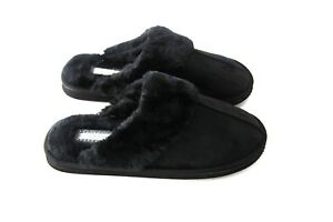 Mens Gents Genuine Faux Fur Sheepskin Slippers Mules Non Slip Hard Sole Size