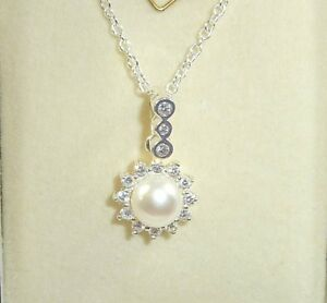 Cultured-Freshwater-White-Pearl-amp-White-Cubic-Zirconia-Sterling-Silver-Necklace