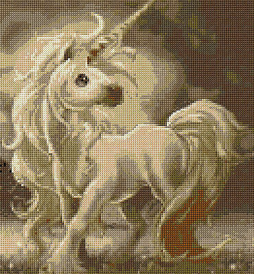 Baby Unicorn Full Counted Cross Stitch Kit   Fantasy/Fairies Designs In Thread