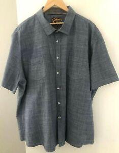 Johnny Bigg Men's size 5XL Shirt Blue Short Sleeves Denim Look Cotton Fabric