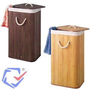 panier linge en bambou rectangulaire brun ou naturel. Black Bedroom Furniture Sets. Home Design Ideas