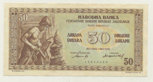 Yugoslavia 50 Dinara 1-5-1946 Pick 64 XF- Circulated Banknote Ref 086