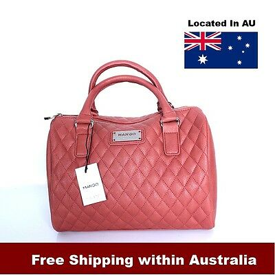 Designer Handbag Mango Brand Leather Hand Bag European Bag Peach Color