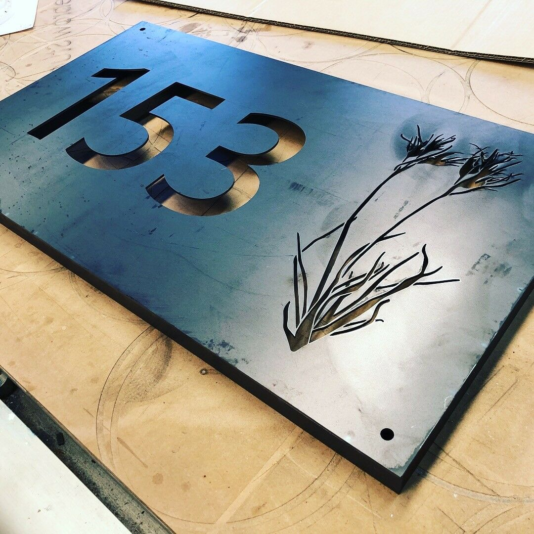 Mailbox House Farm Sign Plaque Corten Rusted Steel Metal Laser Cut 500mm x 250mm