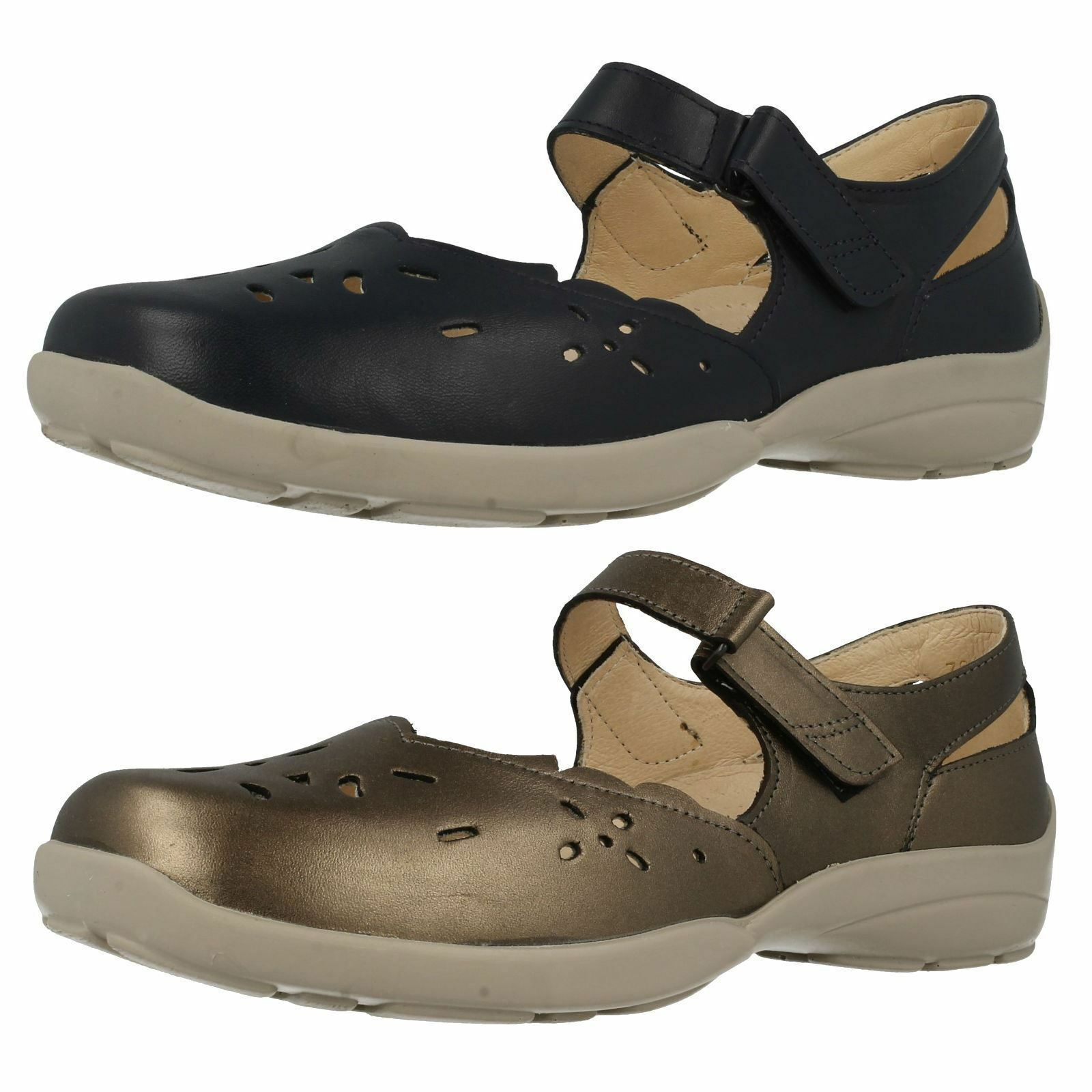 LADIES EASY B DB EVERYDAY LEATHER RIPTAPE STRAP WIDE FIT LEATHER EVERYDAY CASUAL FLAT Schuhe ERIN d62b09