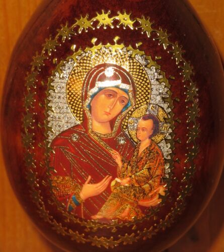 Egg Icon Theotokos She Who is Quick to Hear Russian Mother of GOD Christmas Gift