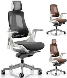 Zouch Mesh Ergonomic Office Chair With Headrest Black Or Mandarin Ebay