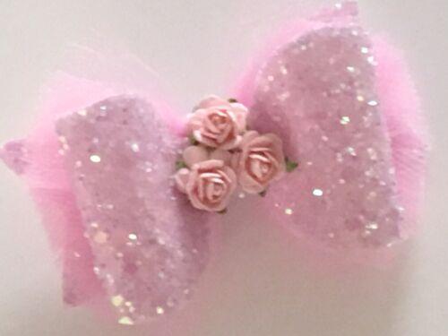 """Handmade tulle roses /& glitter bows girls 3/"""" hair clip alligator"""