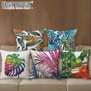 Housse-de-Coussin-45x45cm-Afrique-Plante-Tropicale-Imprime-Vert-Feuilles-Tai
