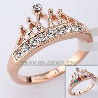 Fashion Simulated Gemstone Crown Ring 18KGP CZ Rhinestone Crystal Size 5.5-9