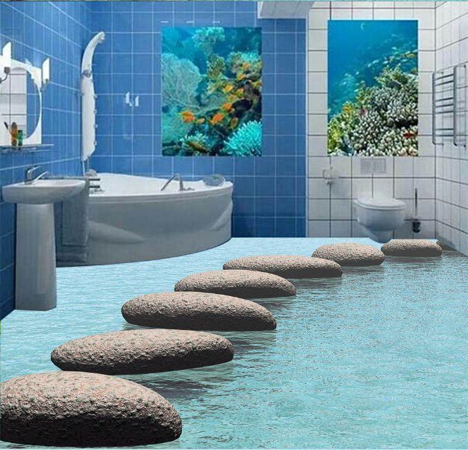 3D Liso Claro River Papel Pintado Mural Mural Mural Pared Calcomanía de impresión de piso 5D AJ Wallpaper d3345a