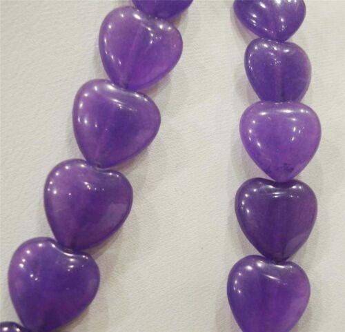 """14x14mm en forma de Corazón con Amatista Corazón Púrpura suelta granos 15/"""" PL275"""