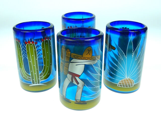 Mexican glass, hand blown hand painted cactus and Poncho design, set of 4, 16 oz
