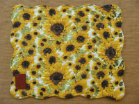 Dreamy Jeannie Quilted Placemat - Sunflowers - Gold, Brown, Green On White