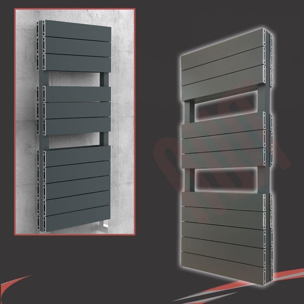 500 mm (W) x 1200 mm (H)  Flow double  Anthracite Aluminium Porte-serviettes (5258 BTU)