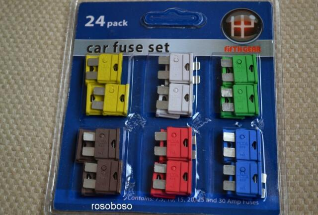 Auto Car Fuse Kit 6 x 4 Piece Packed 24 Set Sizes 7.5A to 30A 7.5 Amp / 30 A