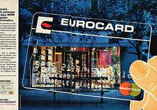 PUBLICITE ADVERTISING 035  1982  EUROCARD  MASTERCARD  carete de paiement ( 2p)