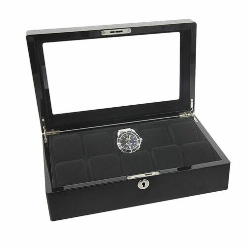 Augusta caja para relojes relojes baúl de madera negro brillante pintura para 10 relojes