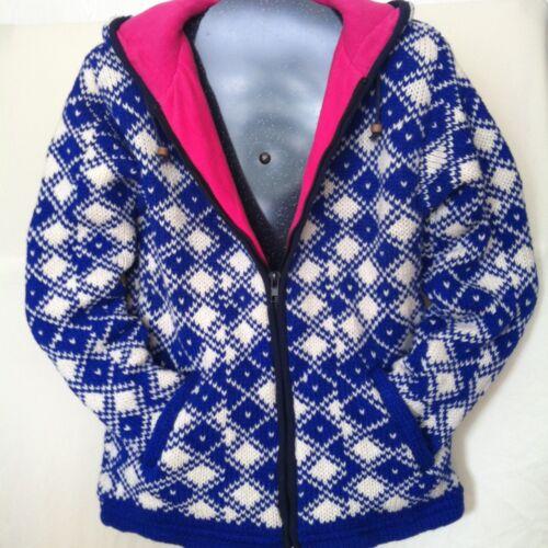 38 Gr Nepal Wolljacke für Damen//Mädchen Kapuze blau//pink kuscheliges Fleece